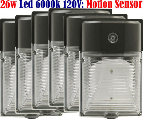 Motion Detector Lights: Canada 6pack 26w 6000k Brightest Garage Porch Wall - LED Light World
