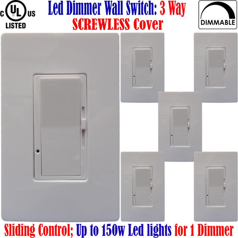 3 Way Dimmer: Canada 6pack Led Three Way Screwless Dimmable Switch - LED Light World