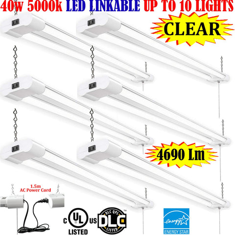 Led Garage Lights Canada: 4ft 40w 6 Pack Clear 5000k Plug In Pendant Shop - LED Light Canada