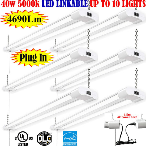 Plug In Garage Light, Canada 4ft 40w 6pack 5000k Workshop Shop Office 120V - LED Light Canada