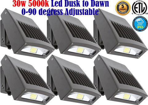 Outdoor Light Fixtures Canada 30w 5000k 6pack Led Exterior Garage Yard Outside - LED Light World