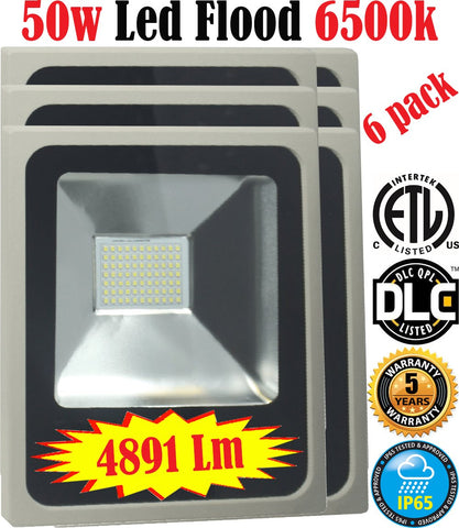 50w Led Floodlight: Canada 6 Pack Outdoor 6500k Bright Yard Commercial