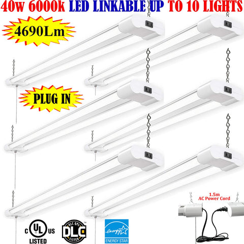 Plug In Led Shop Lights, Canada 4ft 40w 6pack 6000k Bright Garage Workbench - LED Light Canada