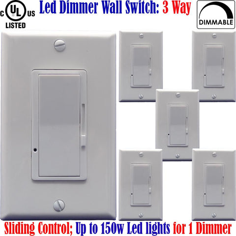 3 Way Dimmer: Canada 6pack Led Dimmer Switch Three Way Dimmable 150w