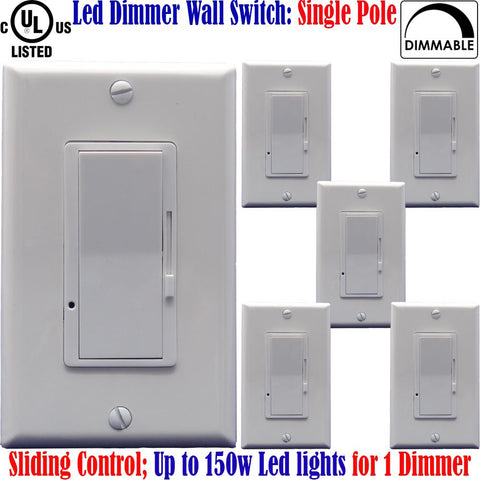 Led Dimmer: Canada 6pack Single Pole Dimmable Switch White Plates 150w - LED Light World