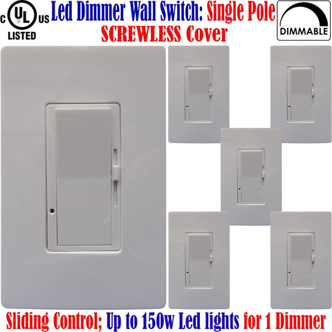 Led Dimmer Switch Canada: 6pack Single Pole Dimmable Screwless Plates - LED Light World
