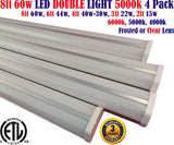 8 foot Led Shop Lights, Canada: 8ft 4 Pack 60w 5000k Garage Shop Workshop - LED Light Canada