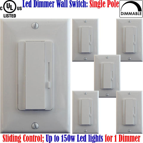 Dimmer Switch For Led Lights: Canada 6pack Single Pole Dimmable 150w - LED Light World