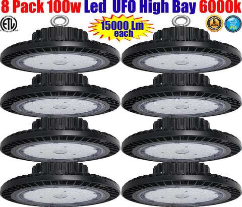Led Warehouse Lighting, Canada: 8pack 100w 6000k UFO High Bay Shop Garage - LED Light World