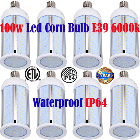 Large Led Light Bulbs, Canada 100w 8pack 6000k Corn Mogul Garage Shop Warehouse - LED Light World