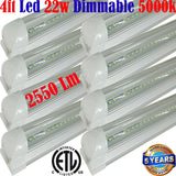 Dimmable Led Shop Lights, Canada T8 8pack 4ft 22w Clear 5000k Workshop Garage - LED Light World