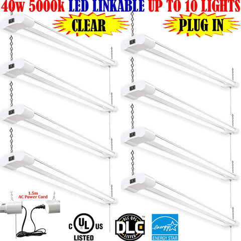Industrial Pendant Light Canada: 4ft 40w 8 Pack Clear 5000k Garage Shop - LED Light Canada