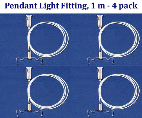 Pendant Light Fitting: 4 Pack 1m Wire with Pendant Light Fitting