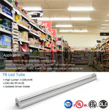 T8 Fixture: Led 3ft 13w 3000k Warm White 1365 Lm ETL Canada