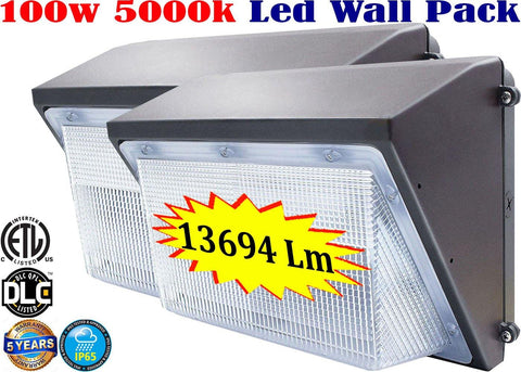 Outside Garage Lights: 100w, 2 Pack, 5000k Daylight Yard Security