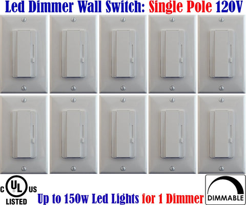 Led Dimmer Switch Canada: 10pack Led Single Pole Dimmer Dimmable 150w - LED Light World