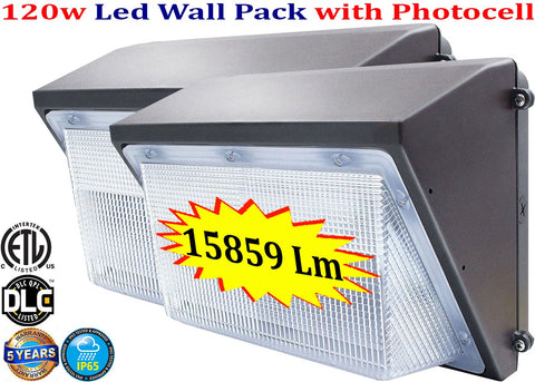 Led Wall Pack Canada: 120w 5000k 2 pack Dusk to Dawn Backyard Garage - LED Light World