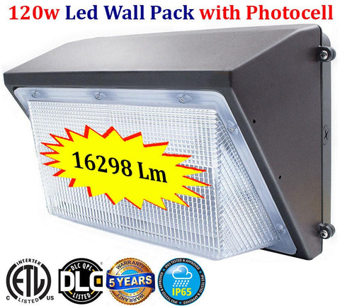Led Wall Pack with Photocell: Canada 120w 6000k Outdoor Yard Security