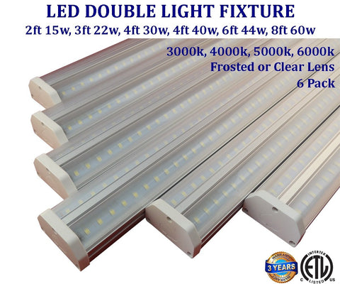 Bright Shop Lights: 6 pack, 4ft 30w 6000k Super Bright Clear Canada