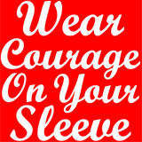 This illustration is of Veracore's signature motto, which is Wear Courage On Your Sleeve. Veracore's motto appears in white script on a red square background.