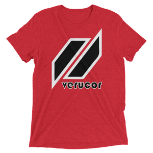 This is a photo of Veracore's first shirt, which is called The Original. As pictured, the shirt is in Lean Red with Veracore's logo in the middle. Below the logo is the name Veracore; Veracore's letters are black with a thin white outline.