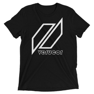 This is a photo of Veracore's first shirt, which is called The Original. As pictured, the shirt is in Midnight Black with Veracore's logo in the middle. Below the logo is the name Veracore; Veracore's letters are black with a thin white outline.