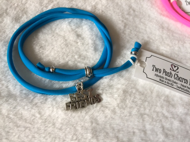 Best Friends Charm on Turquoise or Hot Pink Band
