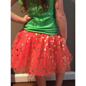Coral Tutu with Gold Polka Dots