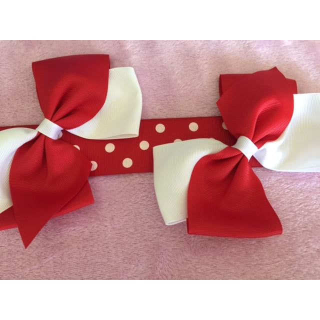Red and White Bow Clip