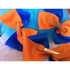 Blue & Orange Bow Clip