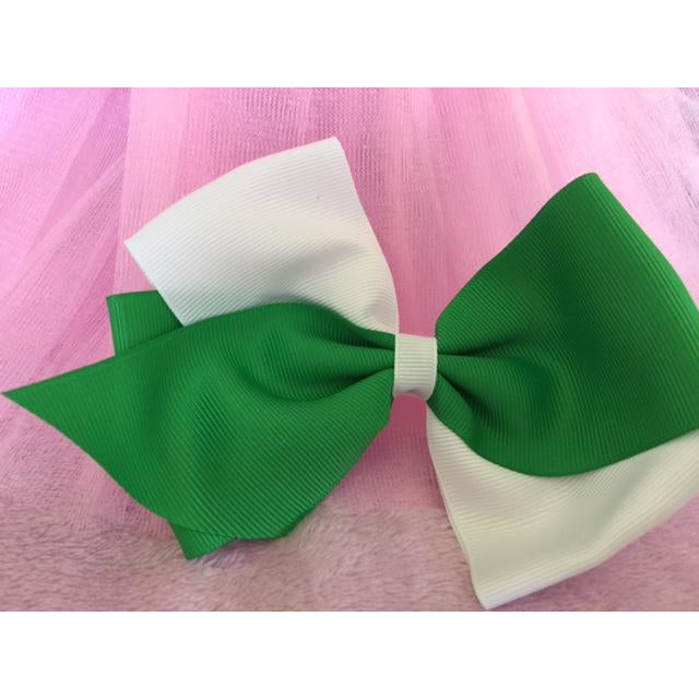 Green & White Bow Clip