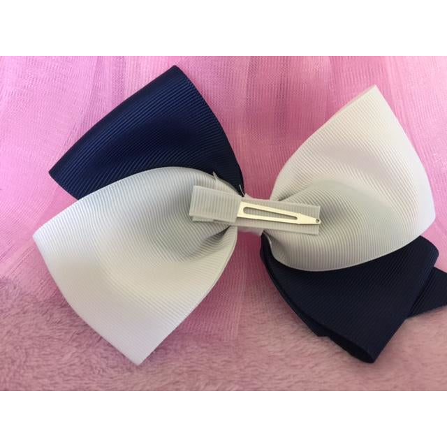 Navy & White Bow Clip