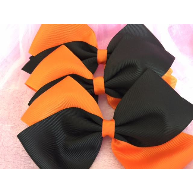 Orange & Black Bow Clip
