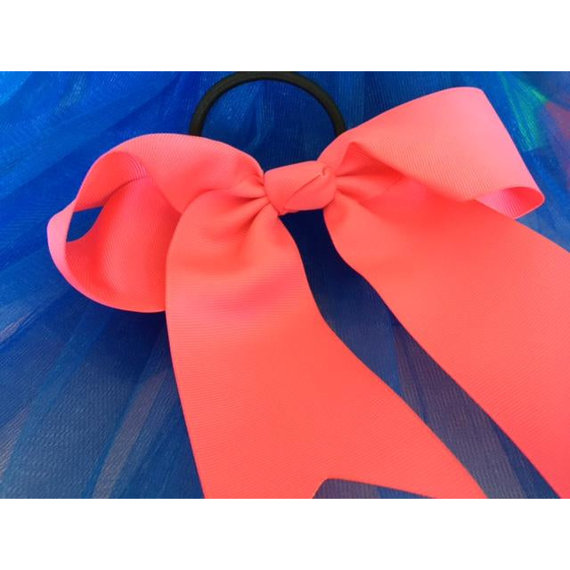 Coral Bow Ponytail Holder - Great Cheer Bows too! SELECT YOUR COLOR