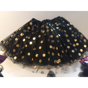 Black Tutu with Gold Polka Dots - Costume/Party Favor Tutus