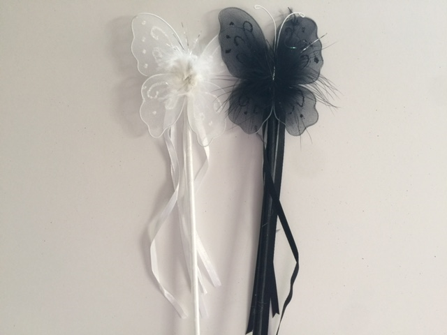 Black + White Butterfly Wands (Set of 2)