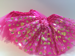 Hot Pink Tutu with Gold Hearts - Costume & Party Favor Tutus