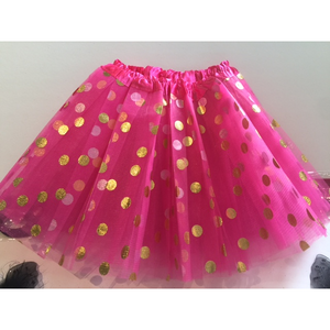 Hot Pink Tutu with Gold Polka Dots -Costume & Party Favor Tutus