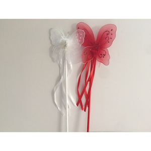 Red + White Butterfly Wands (Set of 2)