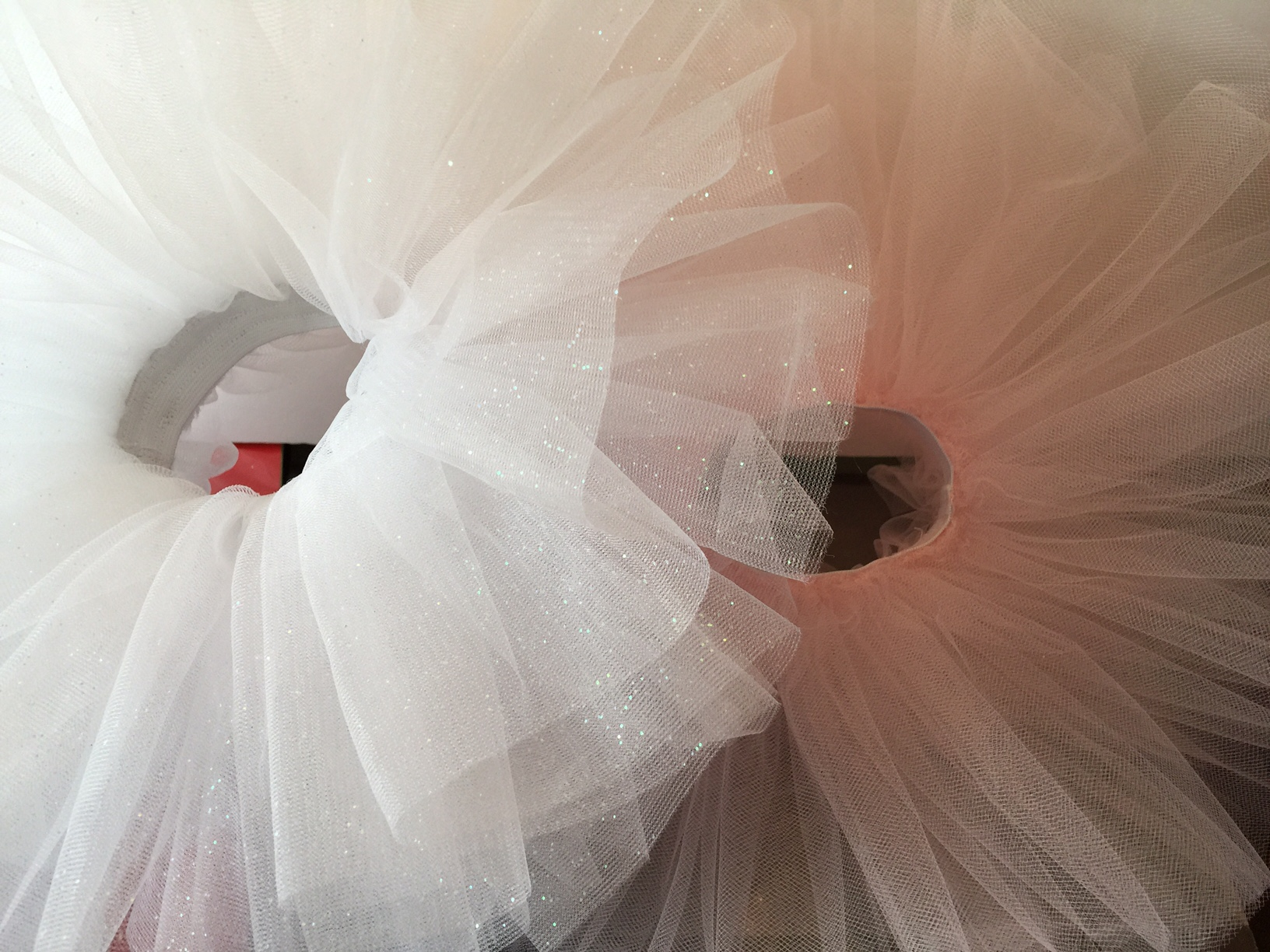 White Sparkle Ballerina Tutu with Purple Flower Clip