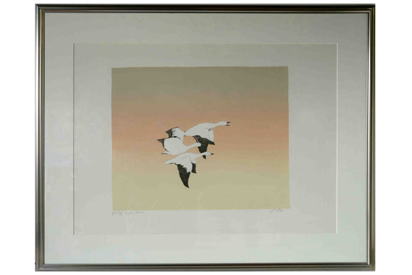 White Geese / Les Oiseaux Blancs (Framed Etching with Matte Numbered & Signed)