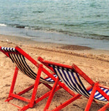 Two Red Beach Chairs by Ruth Beker - 3 X 3 Inches (Greeting Card)
