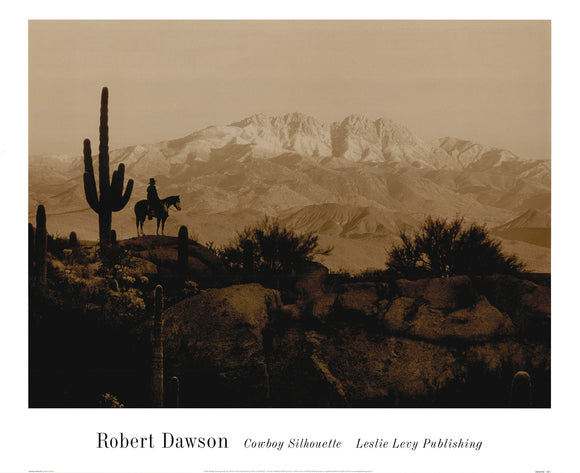 Cowboy Silhouette by Robert Dawson - 22 X 27 Inches (Art Print)