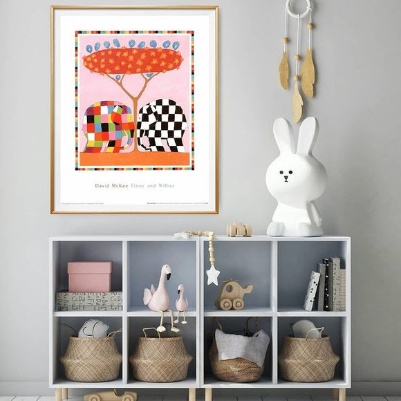 Elmer and Wilbur by David McKee - 16 X 20 Inches (Framed Art Print)