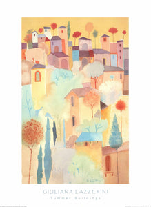 Summer Buildings by Giuliana Lazzerini - 24 X 32 Inches (Art Print)