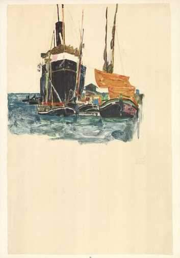 Sailing Ships in the Water by Egon Schiele - 14 X 20 Inches (Art Print)