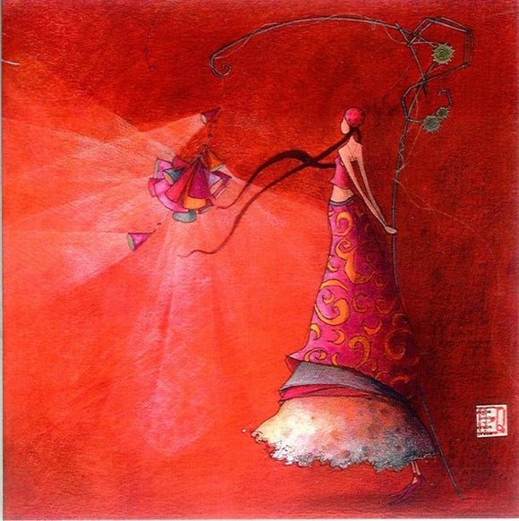 Colourful Lamp by Gaelle Boissonnard - 6 X 6 Inches (Greeting Card)