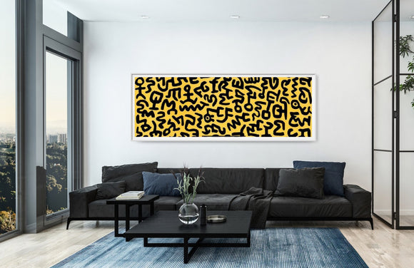 Untitled, 1990 by Keith Haring - 13 X 38 Inches (Framed Art Print)