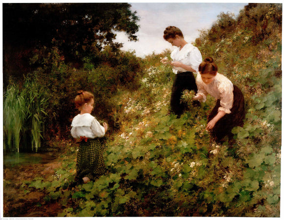 Flower Girls by Herman Seeger - 35 X 44 Inches (Art Print)