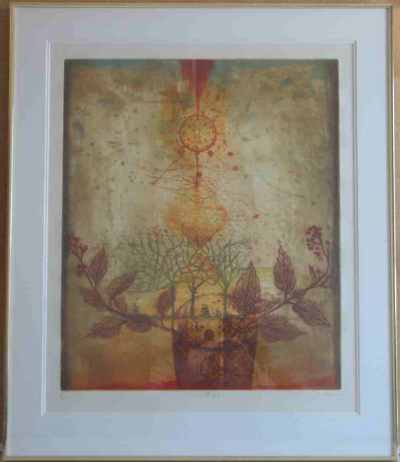 La Cuve Magique, 1983 (Gold Metal Frame with Double Matte - Etching & Aquatint Numbered & Signed) III/XXX